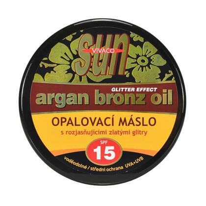 Opalovací máslo s arganovým olejem a s glitry SPF 15 200 ml