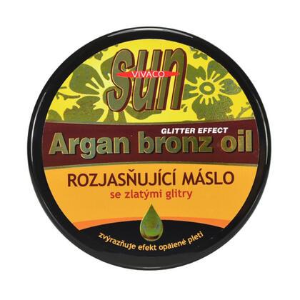 Rozjasňující arganové máslo po opalování s glitry 200 ml