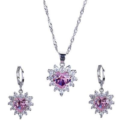 Souprava náhrdelníku a náušnic SRDCE růžové