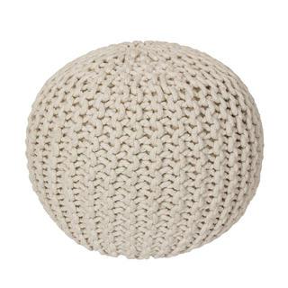 Ručně pletený puf krémový
