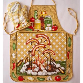 Kuchyňská zástěra s chňapkou - buřty