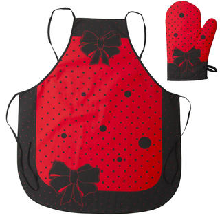 Kuchyňská zástěra s chňapkou červená