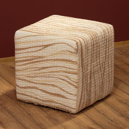 Bielastické potahy UNIVERSO žíhané béžové, taburet (40 x 40 x 40 cm)