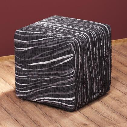 Bielastické potahy UNIVERSO žíhané černobílé, taburet (40 x 40 x 40 cm)