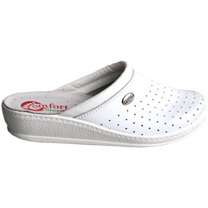 Dámské pantofle s plnou špičkou bílé