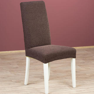 Luxusní multielastické potahy ZAFIRO čokoládové, židle s opěradlem 2 ks 40 x 40 x 60 cm