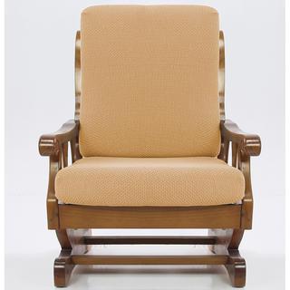 Multielastické potahy CARLA gold, křeslo s dřevěnými rukojeťmi (š. 60 - 80 cm)