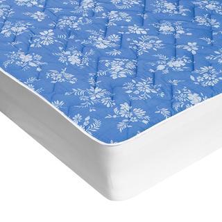 Prošívaný chránič matrace s aloe vera modrý s bílými květy, 90 x 200 cm