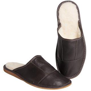 Pánské kožené pantofle s ovčí vlnou hnědé
