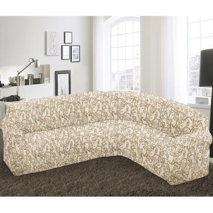 Bielastické potahy INCA béžové rohová sedačka (š. 350 - 530 cm)