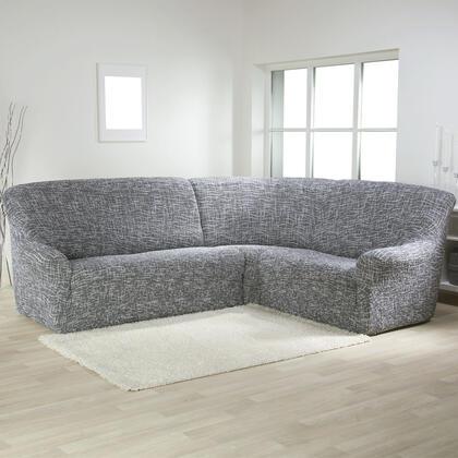 Bielastické potahy GRAFITI NOVÉ antracit, rohová sedačka (š. 350 - 530 cm)