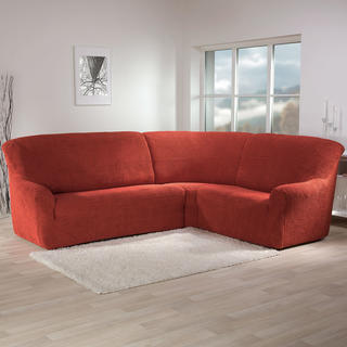 Super strečové potahy GLAMOUR cihlové, rohová sedačka (š. 350 - 530 cm)