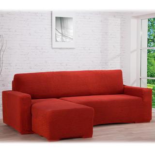 Super strečové potahy GLAMOUR cihlové, sedačka s otomanem vlevo (š. 210 - 270 cm)