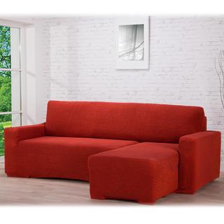 Super strečové potahy GLAMOUR cihlové sedačka s otomanem vpravo (š. 210 - 270 cm)