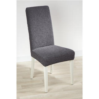 Super strečové potahy GLAMOUR šedé židle s opěradlem 2 ks 40 x 40 x 60 cm