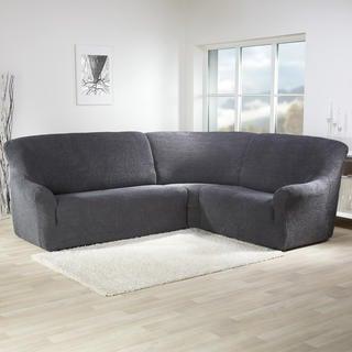 Super strečové potahy GLAMOUR šedé, rohová sedačka (š. 350 - 530 cm)