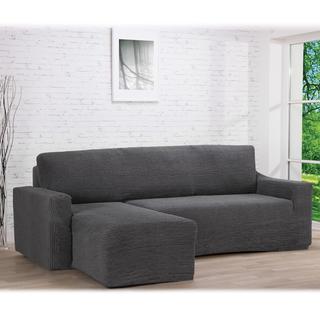 Super strečové potahy GLAMOUR šedé, sedačka s otomanem vlevo (š. 210 - 270 cm)