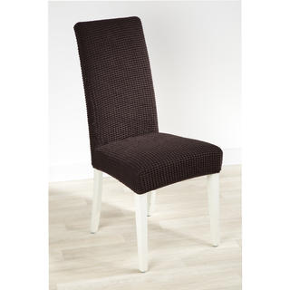 Super strečové potahy GLAMOUR hnědé židle s opěradlem 2 ks 40 x 40 x 60 cm