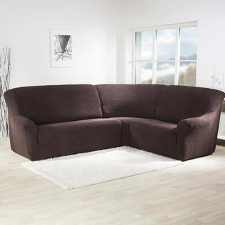 Super strečové potahy GLAMOUR hnědé, rohová sedačka (š. 350 - 530 cm)