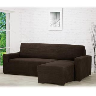 Super strečové potahy GLAMOUR hnědé, sedačka s otomanem vpravo (š. 210 - 270 cm)