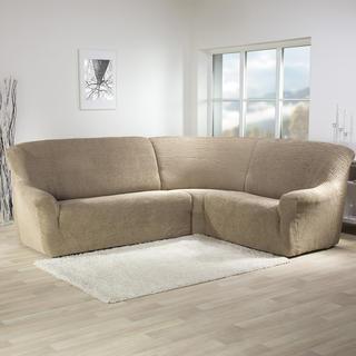 Super strečové potahy GLAMOUR oříškové, rohová sedačka (š. 350 - 530 cm)