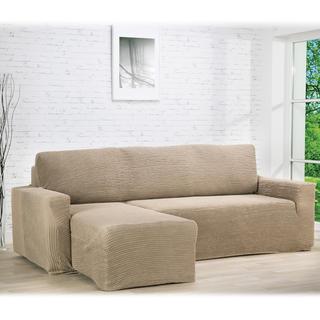Super strečové potahy GLAMOUR oříškové, sedačka s otomanem vlevo (š. 210 - 270 cm)