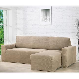 Super strečové potahy GLAMOUR oříškové, sedačka s otomanem vpravo (š. 210 - 270 cm)