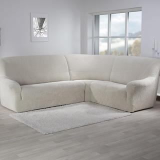 Super strečové potahy GLAMOUR smetanové, rohová sedačka (š. 350 - 530 cm)