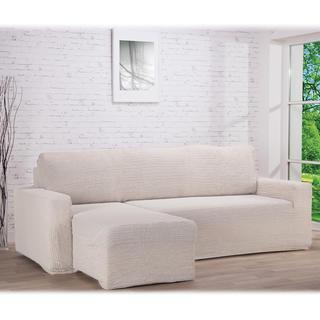 Super strečové potahy GLAMOUR smetanové sedačka s otomanem vlevo (š. 210 - 270 cm)