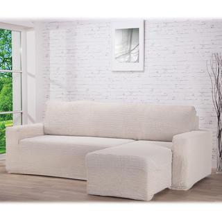 Super strečové potahy GLAMOUR smetanové, sedačka s otomanem vpravo (š. 210 - 270 cm)