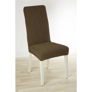 Super strečové potahy GLAMOUR tabákové židle s opěradlem 2 ks 40 x 40 x 60 cm