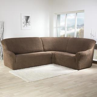 Super strečové potahy GLAMOUR tabákové, rohová sedačka (š. 350 - 530 cm)