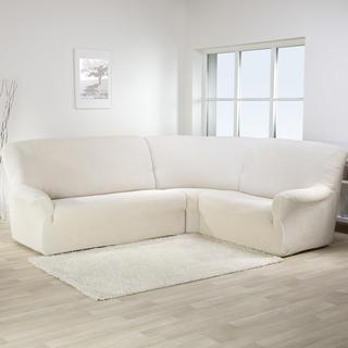 Bielastické potahy CAFFÉ béžové rohová sedačka (š. 350 - 530 cm)