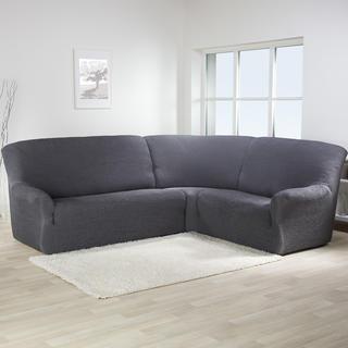 Bielastické potahy CAFFÉ antracit rohová sedačka (š. 350 - 530 cm)