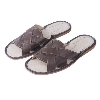Pánské kožené pantofle hnědé