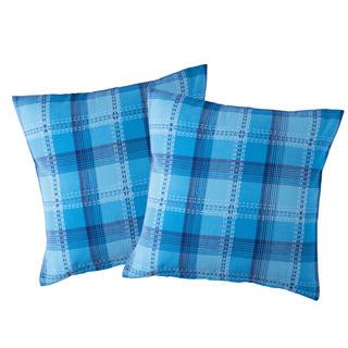 Bavlněné povlaky na polštářky Modrá kostka 2 ks