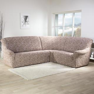 Super strečové potahy 3D FUSTA béžové, rohová sedačka (š. 340 - 540 cm)