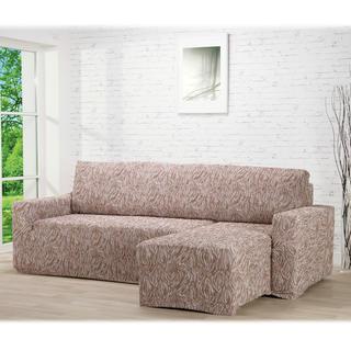 Super strečové potahy 3D FUSTA béžové, sedačka s otomanem vpravo (š. 210 - 270 cm)