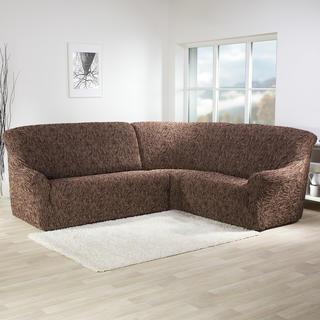 Super strečové potahy 3D FUSTA hnědé, rohová sedačka (š. 340 - 540 cm)