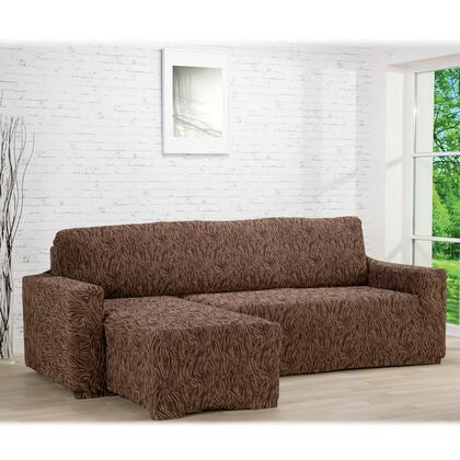 Super strečové potahy 3D FUSTA hnědé, sedačka s otomanem vlevo (š. 210 - 270 cm)