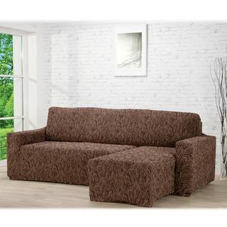 Super strečové potahy 3D FUSTA hnědé, sedačka s otomanem vpravo (š. 210 - 270 cm)