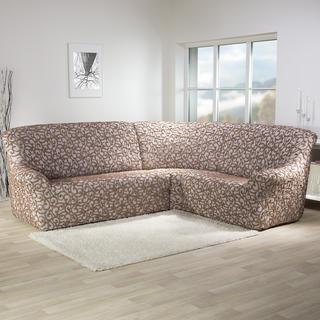 Super strečové potahy 3D DICKSON béžové rohová sedačka (š. 340 - 540 cm)