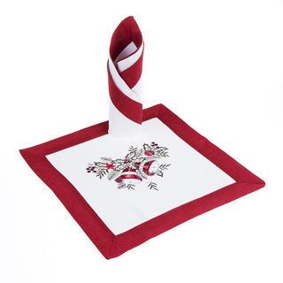 Vánoční vyšívané prostírání červené 2 kusy