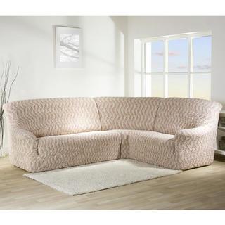 Bielastické potahy INFINITO béžová, rohová sedačka (š. 350 - 530 cm)