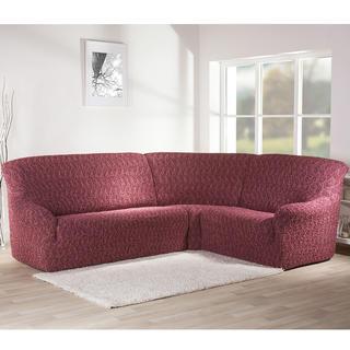 Bielastické potahy INFINITO bordó, rohová sedačka (š. 350 - 530 cm)
