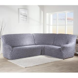 Bielastické potahy INFINITO šedá, rohová sedačka (š. 350 - 530 cm)