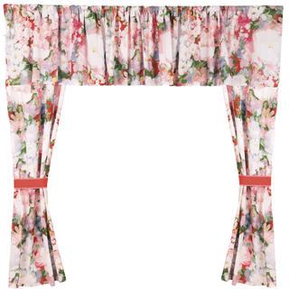 Bavlněné závěsy Monet 5 dílů růžová