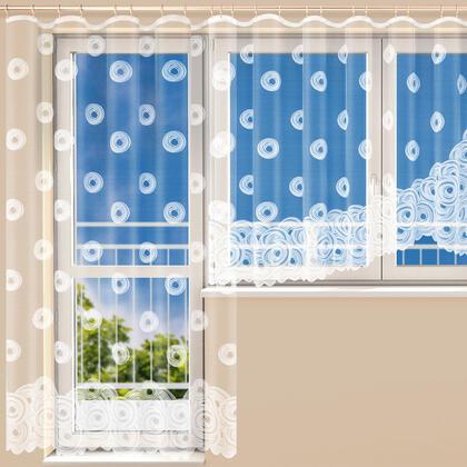 Hotová žakárová záclona VIKTORIE - balkonový komplet