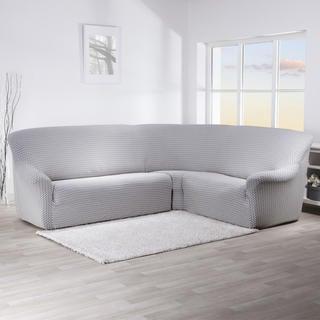 Strečové potahy CIKCAK černobílé rohová sedačka (š. 350 - 530 cm)