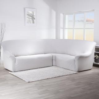 Multielastické potahy CIKCAK šedobílé, rohová sedačka (š. 350 - 530 cm)